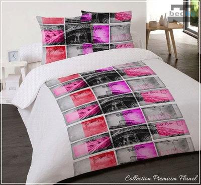 Dekbedovertrek 240 x 220 cm Premium flanel Lits-Jumeaux Bedlin Paris postcard