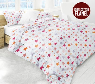 Luxe Flanel Lakenset STARS PINK 2 Persoon