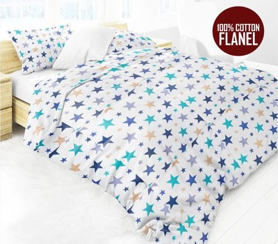 Luxe Flanel Lakenset STARS BLUE 2 Persoon