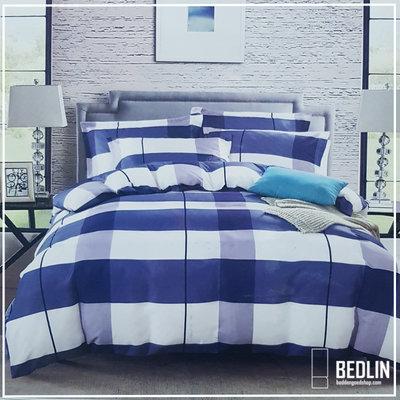 Dekbedovertrek 240 x 220cm Micropercal Lits-Jumeaux Bedlin Blue Block
