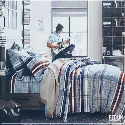 Dekbedovertrek 240 x 220cm Micropercal Lits-Jumeaux Bedlin Gitarblock
