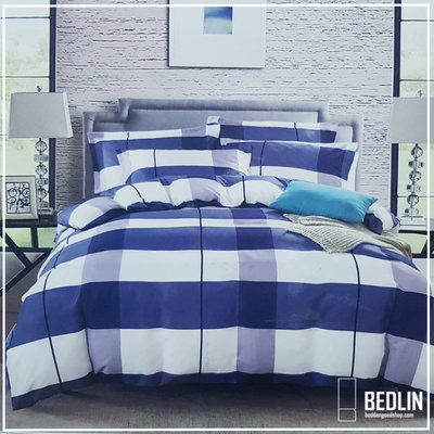 Dekbedovertrek Micropercal 200 x 200cm Bedlin Blue Block