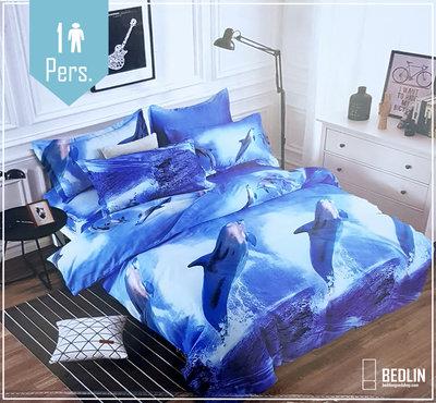 1 Persoon Micropercal 140x200 dekbedovertrek Dolfijnen