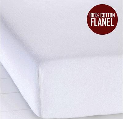 Hoeslaken Flanel Zacht 140x200cm extra hoog wit