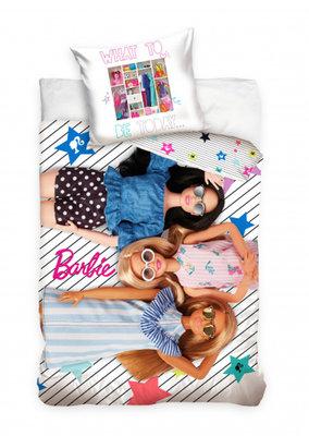 Luxe Katoen Dekbedovertrek 1 persoon 140 x 200 cm Barbie